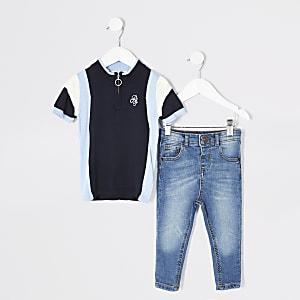 Mini – Outfit mit Strickoberteil in blauen Blockfarben für Jungen