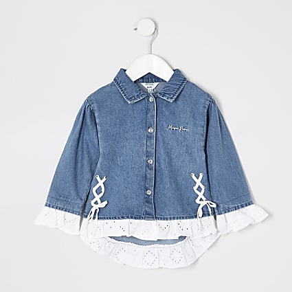 Mini girls laced denim shacket