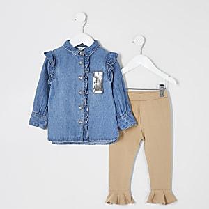 Mini - Blauw denim overhemd outfit met lovertjes voor meisjes