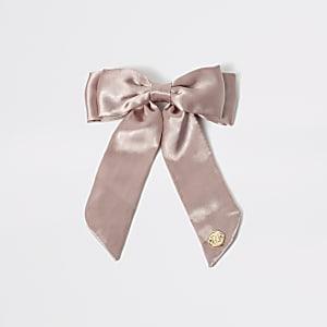 Pinke Spange aus Satin mit Schleife für Mädchen