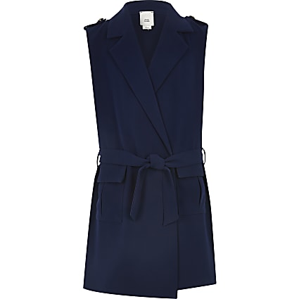 Girls navy sleeveless trench coat