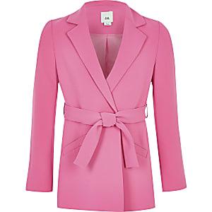 Roze blazer met lange mouwen en strikceintuur voor meisjes