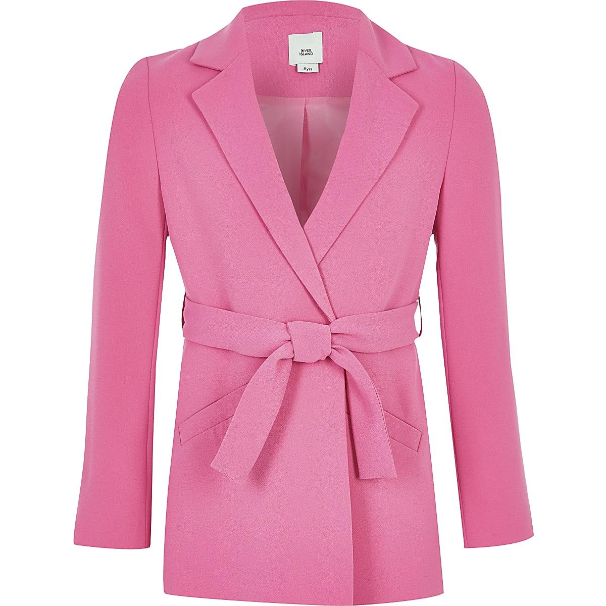 Girls pink tie belted long sleeve blazer