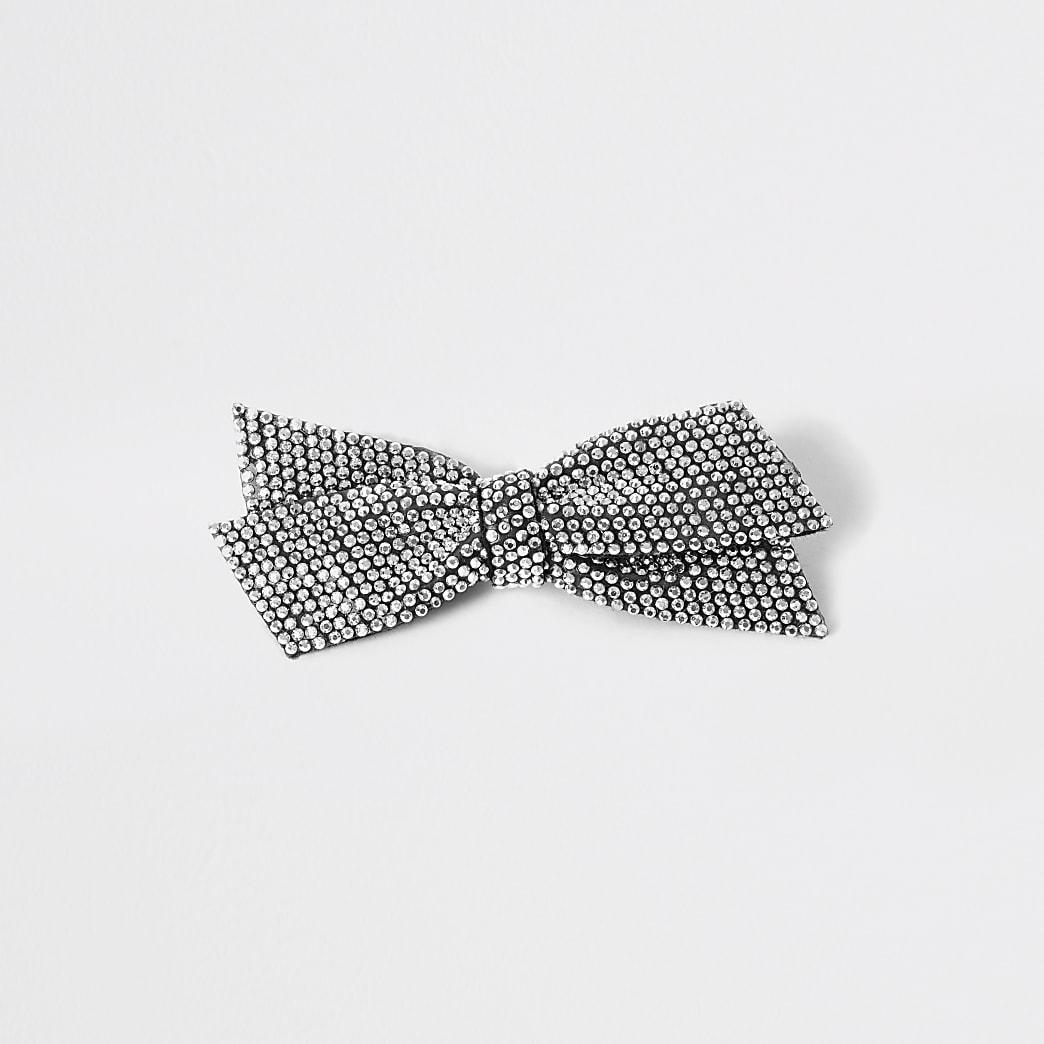 Girls silver diamante bow hair clip