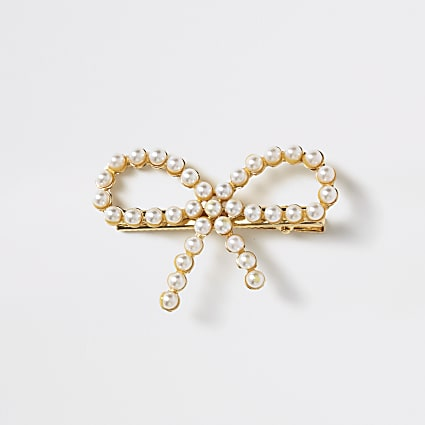 Girls gold pearl embellished bow hair clip