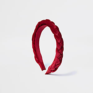 Rode velours gevlochten hoofdband