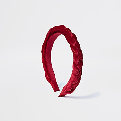 Red velvet plaited headband