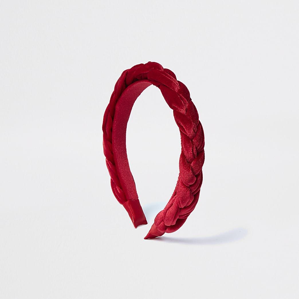 Red velvet plaited headband