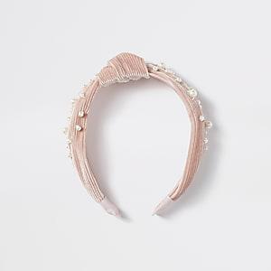 Serre-têterose plisséorné de perles pour fille