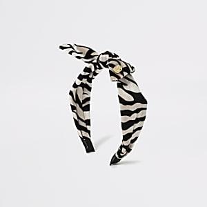 Zwarte haarband met strik met zebraprint voor meisjes