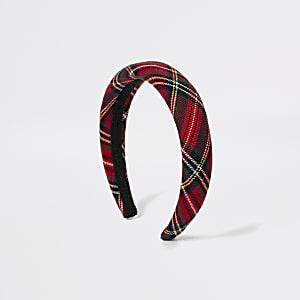 Roter Puff-Haarreif mit Schottenkaros für Mädchen