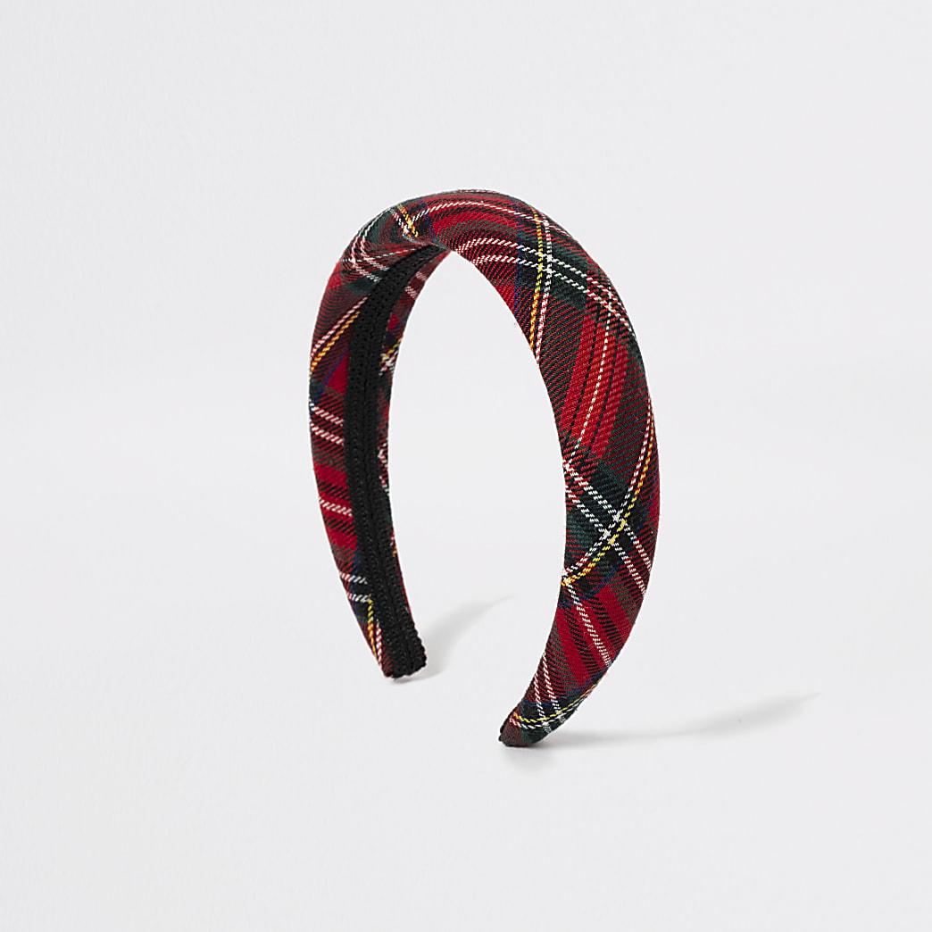 Girls red tartan check puff headband