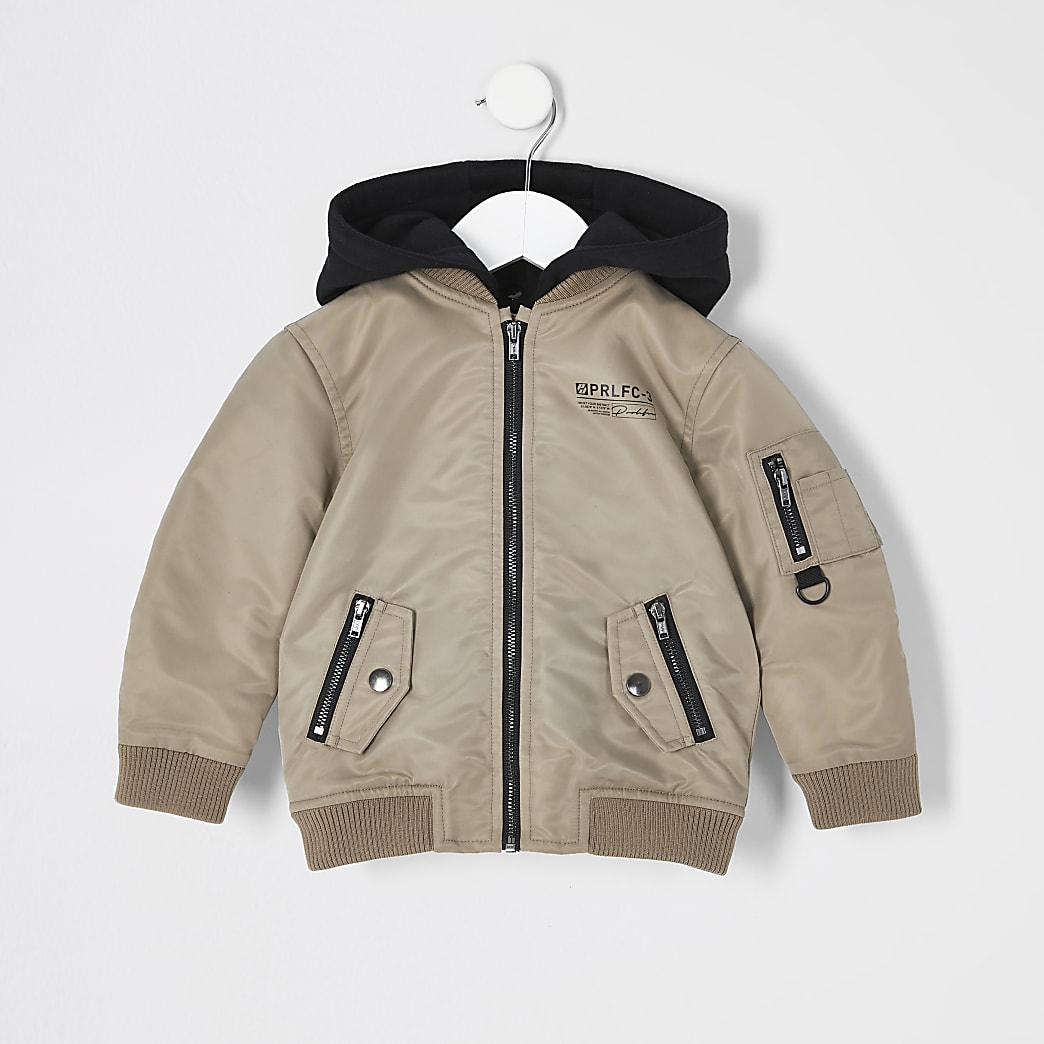Mini boys stone Prolific hooded bomber jacket