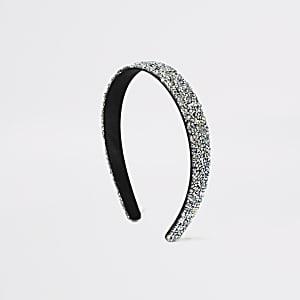 Zilverkleurige stevige haarband met glitters voor meisjes