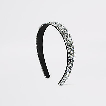 Girls silver chunky glitter headband