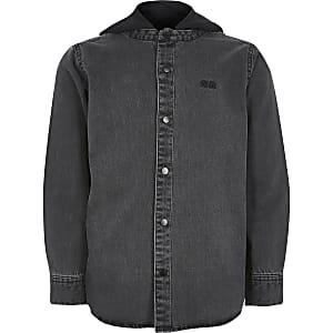 Zwarte denim shacket met capuchon voor jongens