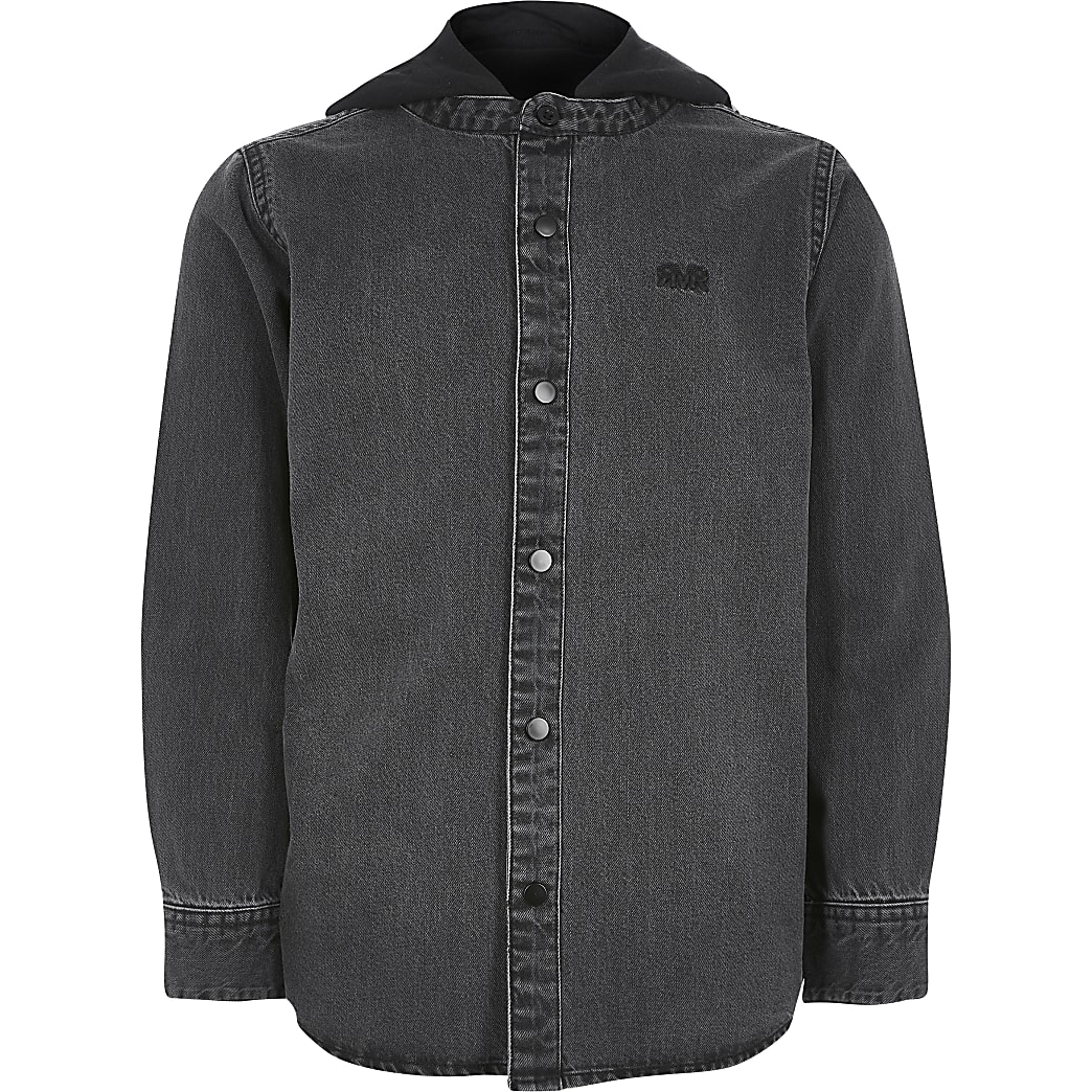 Hemdjacke mit Kapuze aus schwarzem Jeansstoff