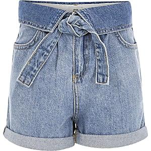 Shorts en denimbleus avec ceintureà revers pour fille