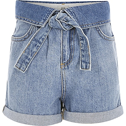 Girls blue turnover waist denim shorts