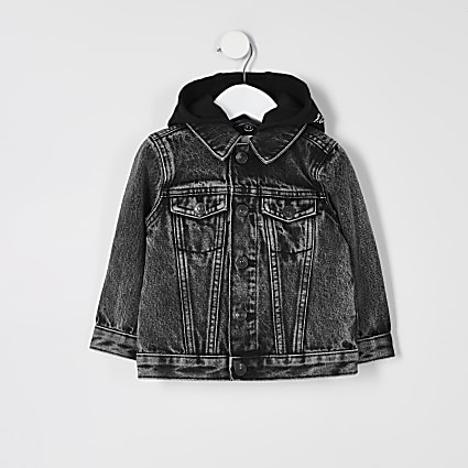 Mini boys black Prolific hooded denim jacket