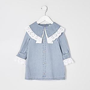 Mini - Blauwe denim jurk met broderie kraag voor meisjes