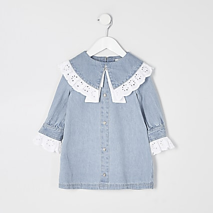 Mini girls blue broderie collar denim dress