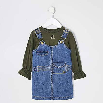 Mini girls utility pinafore dress outfit