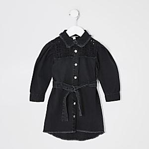 Mini - Zwarte denim broderie overhemdjurk voor meisjes