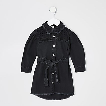 Mini girls black cutwork denim shirt dress