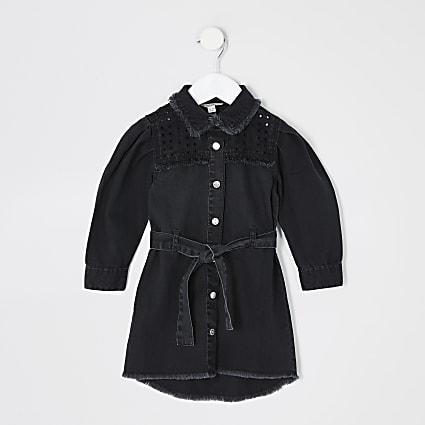 Mini girls black cutwork denim shirt dress