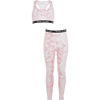 Girls pink snake crop top and legging outfit