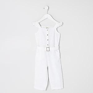 Mini – Mädchen-Overall mit Gürtel und Lochstickerei in Weiß