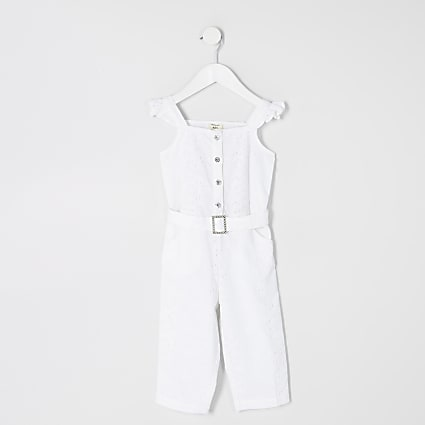 Mini girls white broderie belted jumpsuit