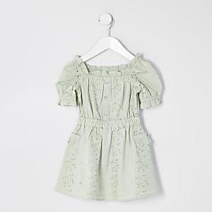 Mini – Grünes Kleid mit Lochstickerei und Puffärmeln für Mädchen