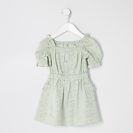 Mini girls green brodered puff sleeve dress