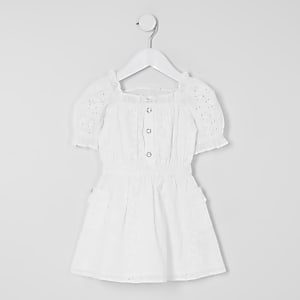 Robe patineuse blanche en broderie anglaise Mini fille