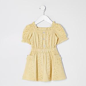 Mini - Gele jurk met broderie pofmouwen voor meisjes