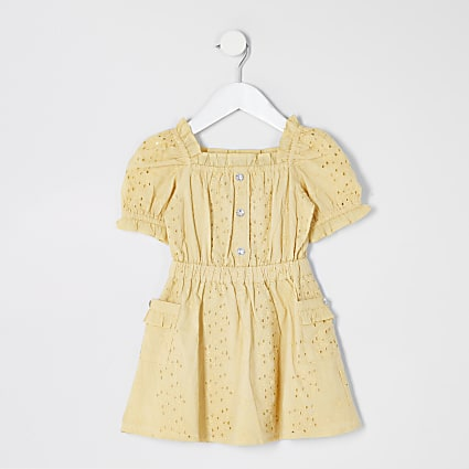Mini girls yellow broderie puff sleeve dress
