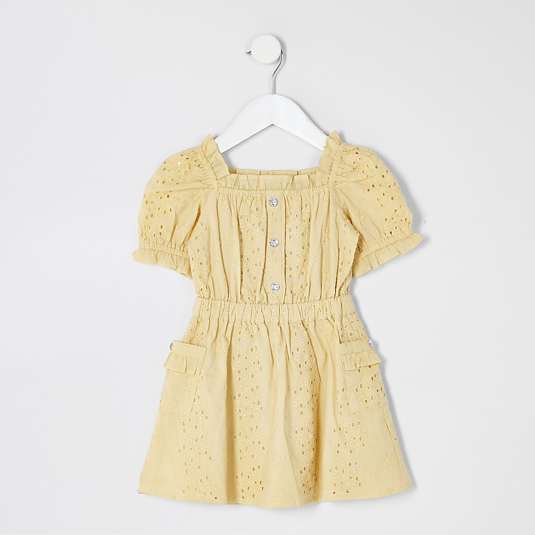 Mini girls yellow broderie puff sleeve dress