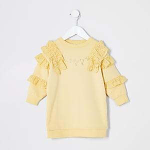 Mini – Gelbes Rüschen-Sweatshirt mit Lochstickerei für Mädchen