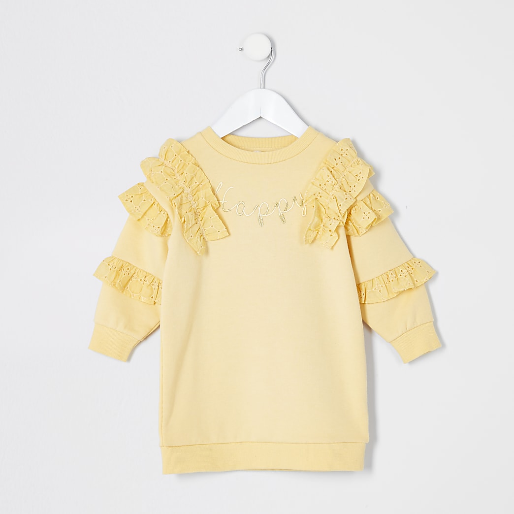 Mini girls yellow broderie frill sweatshirt