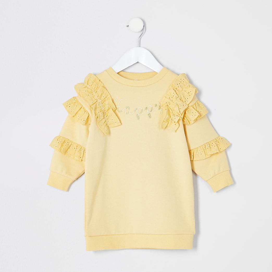 Mini - Gele sweater met broderie ruches voor meisjes