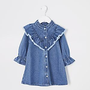 Mini - Blauwe denim jurk met ruche aan de hals voor meisjes