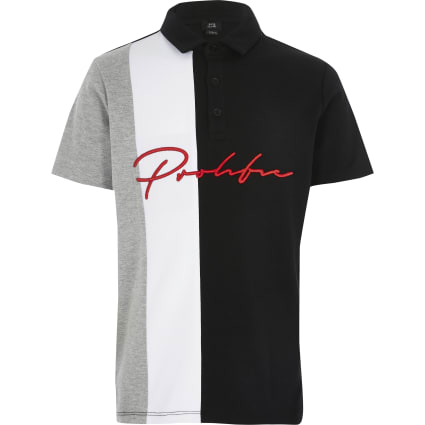 Boys black Prolific colour block polo shirt