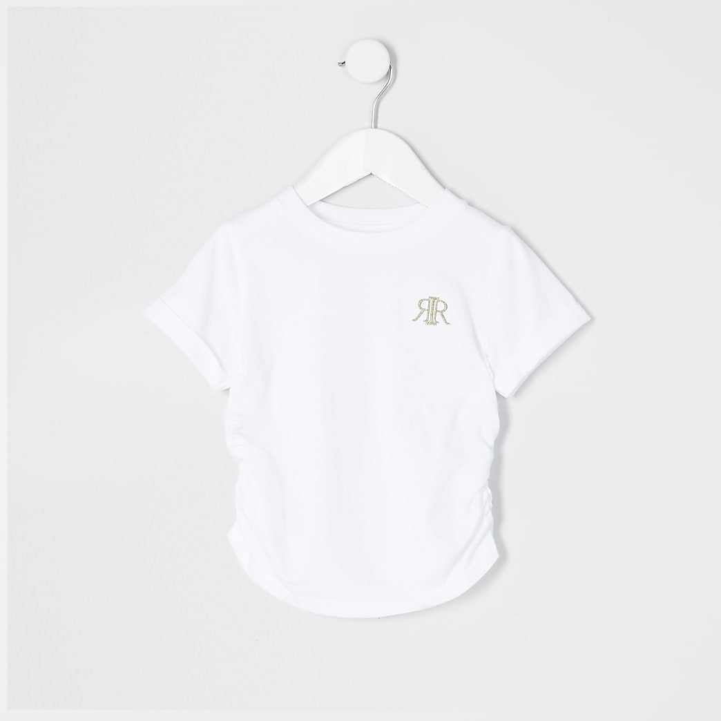 Mini girls ruched side white T-shirt