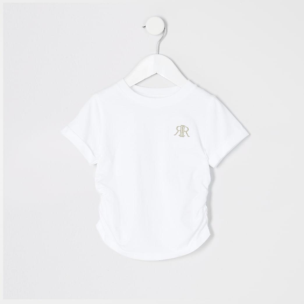 Weißes T-Shirt mit Rüschen für Mädchen
