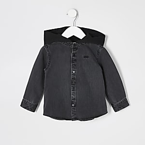 Veste à capuche en denim noir pour mini garçon