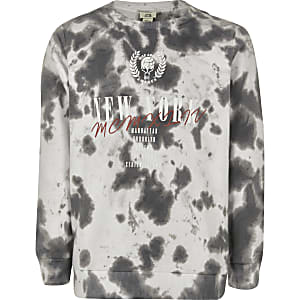 Boys black tie dye 'New York' sweatshirt