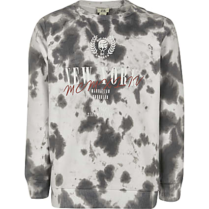 Boys black tie dye 'New York' sweatshirt