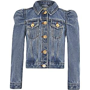 Blaue Jeansjacke mit Puffärmeln für Mädchen